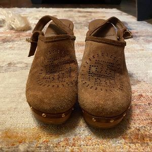 Tory Burch Leather Wood Platform Heels